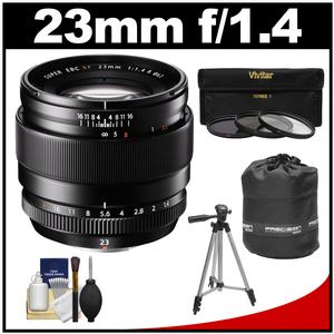 Fujifilm 23mm f-1.4 XF R Lens with 3 UV-CPL-ND8 Filters and Lens Pouch and Tripod and Accessory Kit