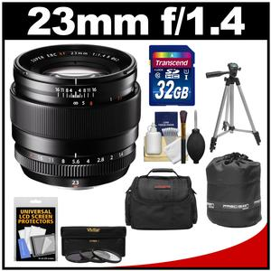 Fujifilm 23mm f-1.4 XF R Lens with 32GB Card and 3 UV-CPL-ND8 Filters and Case and Lens Pouch and Tripod and Accessory Kit
