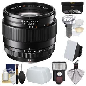 Fujifilm 23mm f-1.4 XF R Lens with Flash and Soft Box and Flash Diffuser and Bounce Diffuser and 3 UV-CPL-ND8 Filters and Kit