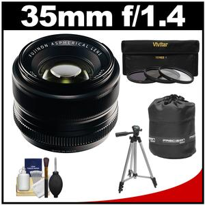 Fujifilm 35mm f-1.4 XF R Lens with 3 UV-CPL-ND8 Filters and Lens Pouch and Tripod and Accessory Kit