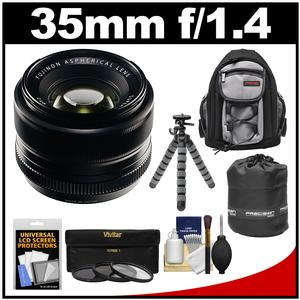 Fujifilm 35mm f-1.4 XF R Lens with 3 UV-CPL-ND8 Filters and Backpack Case and Lens Pouch and Flex Tripod and Accessory Kit