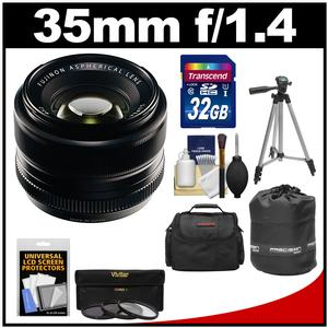 Fujifilm 35mm f-1.4 XF R Lens with 32GB Card and 3 UV-CPL-ND8 Filters and Case and Lens Pouch and Tripod and Accessory Kit