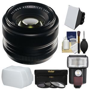 Fujifilm 35mm f-1.4 XF R Lens with Flash and Soft Box and Bounce Diffuser and 3 UV-CPL-ND8 Filters and Kit