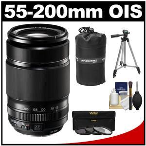 Fujifilm 55-200mm f-3.5-4.8 XF R LM OIS Zoom Lens with 3 UV-CPL-ND8 Filters and Lens Pouch and Tripod and Accessory Kit