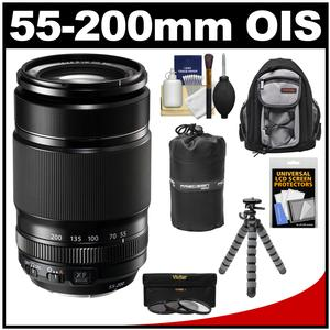 Fujifilm 55-200mm f/3.5-4.8 XF R LM OIS Zoom Lens with 3 UV/CPL/ND8 Filters + Backpack Case + Lens Pouch + Flex Tripod + Accessory Kit