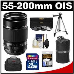 Fujifilm 55-200mm f/3.5-4.8 XF R LM OIS Zoom Lens with 32GB Card + 3 UV/CPL/ND8 Filters + Case + Lens Pouch + Tripod + Accessory Kit