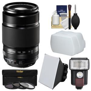 Fujifilm 55-200mm f-3.5-4.8 XF R LM OIS Zoom Lens with Flash and Soft Box and Bounce Diffuser and 3 UV-CPL-ND8 Filters and Kit