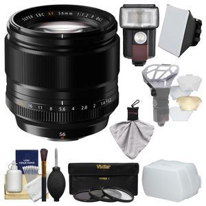 Fujifilm 56mm f-1.2 XF R Lens with Flash and Soft Box and Flash Diffuser and Bounce Diffuser and 3 UV-CPL-ND8 Filters and Kit