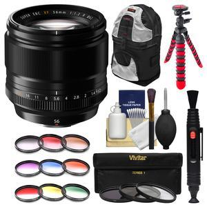 Fujifilm 56mm f-1.2 XF R Lens with 3 UV-CPL-ND8 and Colored Filters + Backpack + Tripod + Kit