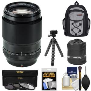 Fujifilm 90mm f-2 XF R LM WR Lens with Backpack and 3 UV-CPL-ND8 Filters and Tripod and Pouch and Kit