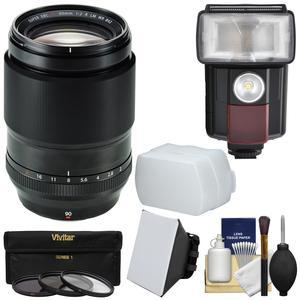 Fujifilm 90mm f-2 XF R LM WR Lens with Flash and 3 UV-CPL-ND8 Filters and Softbox and Diffuser and Kit