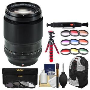 Fujifilm 90mm f-2 XF R LM WR Lens with 3 UV-CPL-ND8 and Colored Filters and Backpack and Tripod and Kit