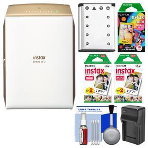 Fujifilm Instax SHARE SP-2 Instant Film Wi-Fi Smartphone Printer - Gold - with 40 Color Prints + 10 Rainbow Prints + Battery and Charger + Kit