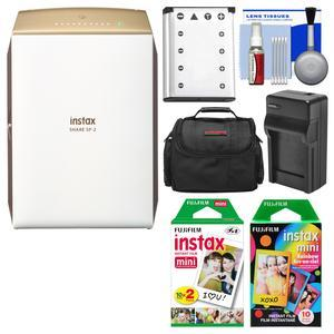 Fujifilm Instax SHARE SP-2 Instant Film Wi-Fi Smartphone Printer - Gold - with 20 Color Prints + 10 Rainbow Prints + Case + Battery and Charger + Kit