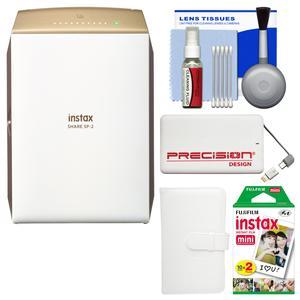 Fujifilm Instax SHARE SP-2 Instant Film Wi-Fi Smartphone Printer - Gold - with 20 Color Prints + Photo Album + Power Bank + Kit
