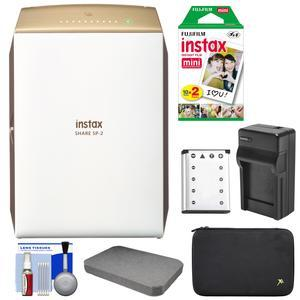 Fujifilm Instax SHARE SP-2 Instant Film Wi-Fi Smartphone Printer - Gold - with 20 Color Prints + Battery and Charger + Custom Foam Case + Kit