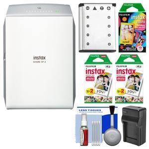 Fujifilm Instax SHARE SP-2 Instant Film Wi-Fi Smartphone Printer - Silver - with 40 Color Prints + 10 Rainbow Prints + Battery and Charger + Kit