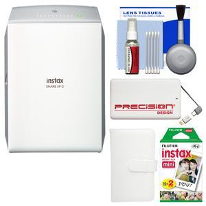 Fujifilm Instax SHARE SP-2 Instant Film Wi-Fi Smartphone Printer - Silver - with 20 Color Prints + Photo Album + Power Bank + Kit