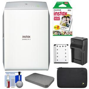Fujifilm Instax SHARE SP-2 Instant Film Wi-Fi Smartphone Printer - Silver - with 20 Color Prints + Battery and Charger + Custom Foam Case + Kit