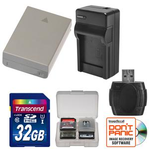 BLN-1 Battery and Charger and 32GB SD Card Essential Bundle for Olympus OM-D E-M1 E-M5 E-M5 Mark II PEN E-P5 PEN-F