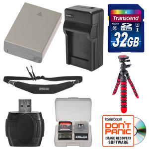 BLN-1 Battery and Charger and 32GB SD Card Tripod and Strap Essential Bundle for Olympus OM-D E-M1 E-M5 E-M5 Mark II PEN E-P5 PEN-F