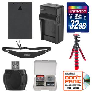 BLS-1- BLS-5 Battery and Charger and 32GB SD Card Tripod and Strap Essential Bundle for Olympus OM-D E-M10 E-M10 II PEN E-PL5 E-PL6 E-PM2
