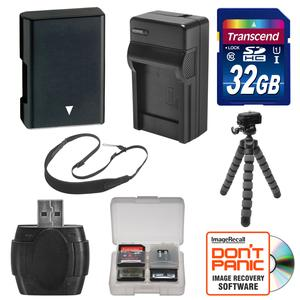EN-EL14 Battery and Charger and 32GB SD Card Tripod and Strap Essential Bundle for Nikon Coolpix P7800 Digital Camera