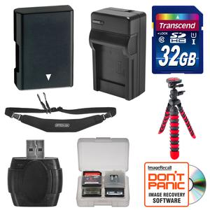 EN-EL14 Battery and Charger + 32GB SD Card Tripod and Strap Essential Bundle for Nikon Df D3300 D3400 D5300 D5500 D5600 Digital SLR Camera