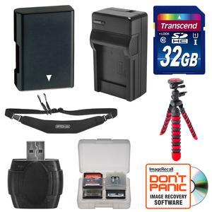 EN-EL14 Battery and Charger and 32GB SD Card Tripod and Strap Essential Bundle for Nikon Df D3300 D3400 D5300 D5500 D5600 Digital SLR Camera