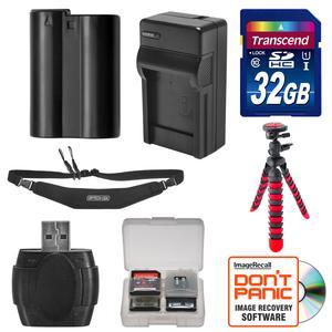 EN-EL15 Battery and Charger and 32GB SD Card Tripod and Strap Essential Bundle for Nikon D7100 D7200 D500 D600 D610 D750 D800 D810 Digital SLR Camera