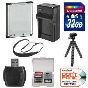 EN-EL19 Battery and Charger and 32GB SD Card Tripod and Strap Essential Bundle for Nikon Coolpix A100 A300 S33 S6800 S6900 S7000 W100 Digital Cameras