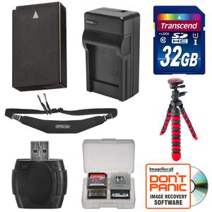 EN-EL20 Battery and Charger and 32GB SD Card Tripod and Strap Essential Bundle for DL24-500 Nikon 1 J3 S1 V3 AW1 Digital Camera