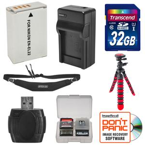 EN-EL22 Battery and Charger + 32GB SD Card Tripod and Strap Essential Bundle for Nikon 1 J4 S2 Digital Camera