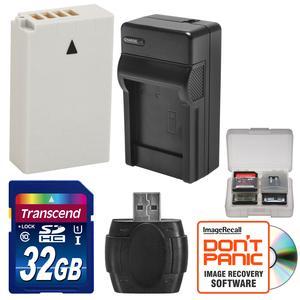 EN-EL24 Battery and Charger and 32GB SD Card Essential Bundle for DL18-50 DL24-85 Nikon 1 J5 Digital Camera
