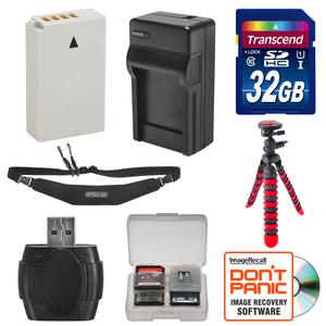 EN-EL24 Battery and Charger and 32GB SD Card Tripod and Strap Essential Bundle for DL18-50 DL24-85 Nikon 1 J5 Digital Camera