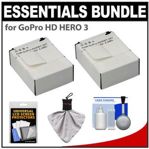 Essentials Bundle for GoPro HD HERO 3 Camera with 2 AHDBT-301 Batteries and Accessory Kit