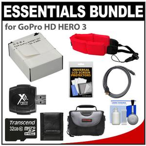 Essentials Bundle for GoPro HD HERO 3 Camera with AHDBT-301 Battery + 32GB Card + Case + Floating Strap + HDMI Cable + Accessory Kit