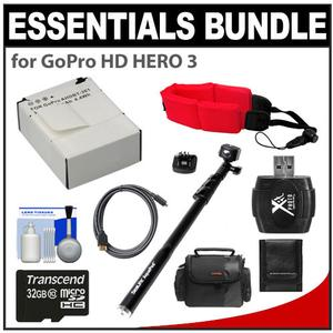 Essentials Bundle for GoPro HD HERO 3 Camera with AHDBT-301 Battery and Sealife Aquapod and 32GB Card and Case and Float Strap and Accessory Kit