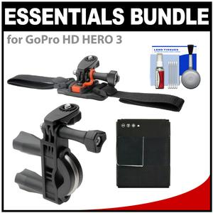 Essentials Bundle for GoPro HD HERO 3 Action Camcorder with Handlebar Bike and Vented Helmet Mounts and Battery and Cleaning Kit