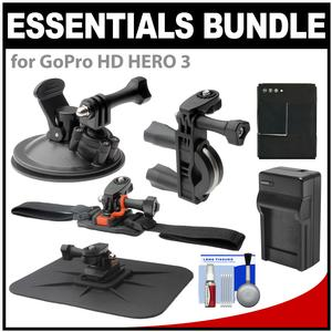 Essentials Bundle for GoPro HD HERO 3 Action Camcorder with Handlebar Bike Vented Helmet & Car Mounts + Battery + Charger + Accessory Kit