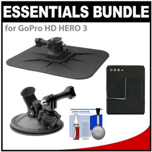 Essentials Bundle for GoPro HD HERO 3 Action Camcorder with Car Suction Windshield & Dashboard Mounts + Battery + Cleaning Kit