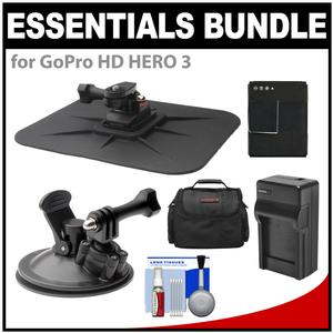 Essentials Bundle for GoPro HD HERO 3 Action Camcorder with Car Suction Windshield & Dashboard Mounts + Battery + Charger + Case + Accessory Kit