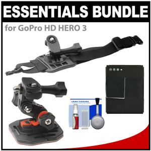 Essentials Bundle for GoPro HD HERO 3 Action Camcorder with Curved Helmet and Arm Mounts and Battery and Cleaning Kit