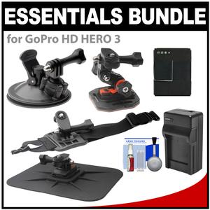 Essentials Bundle for GoPro HD HERO 3 Action Camcorder with Curved Helmet Arm and Car Mounts and Battery and Charger and Accessory Kit