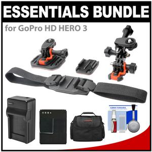 Essentials Bundle for GoPro HD HERO 3 Action Camcorder with Helmet & Flat Surface Mounts + Battery + Charger + Case + Accessory Kit