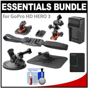 Essentials Bundle for GoPro HD HERO 3 Action Camcorder with Helmet Flat Surface and Car Mounts and Battery and Charger and Accessory Kit