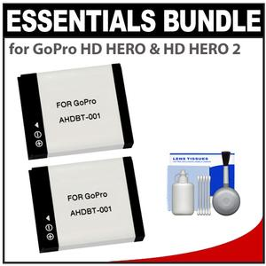Essentials Bundle for GoPro HD HERO & HD HERO 2 with 2 AHDBT-001 Batteries + Cleaning Kit