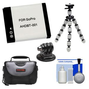 Essentials Bundle for GoPro HD HERO and HD HERO 2 with AHDBT-001 Battery + Tripod Mount Adapter + Case + Flex Tripod + Accessory Kit