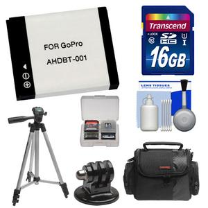 Essentials Bundle for GoPro HD HERO and HD HERO 2 with AHDBT-001 Battery + 16GB Card + Case + Mount Adapter + Tripod + Accessory Kit