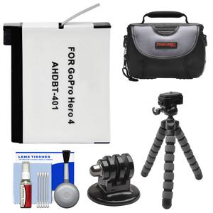 Essentials Bundle for GoPro HD HERO 4 Action Camcorder with AHDBT-401 Battery and Flex Tripod and Adapter and Case and Accessory Kit